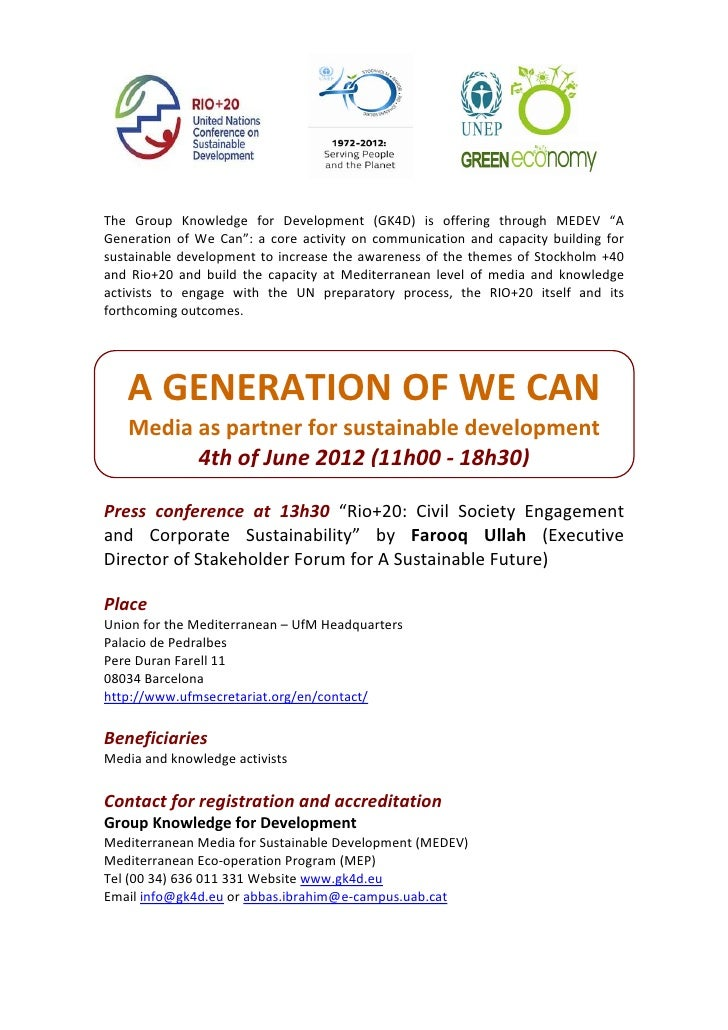 "The  Group  Knowledge  for  Development  (GK4D)  is  offering  through  MEDEV  ""A Generation  of  We  Can"":  a  core  ac..."
