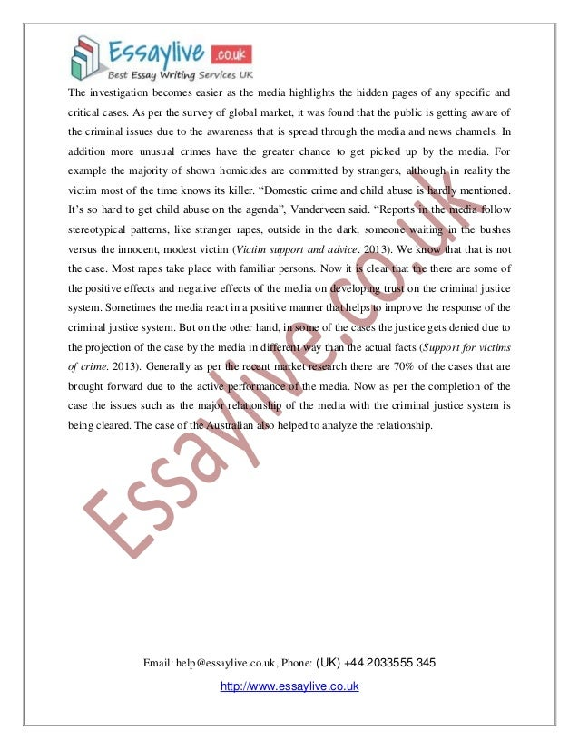 crime media essay Need essay sample on media and the fear of crime: a research proposal - media and the fear of crime: a research proposal introduction we will write a cheap essay.