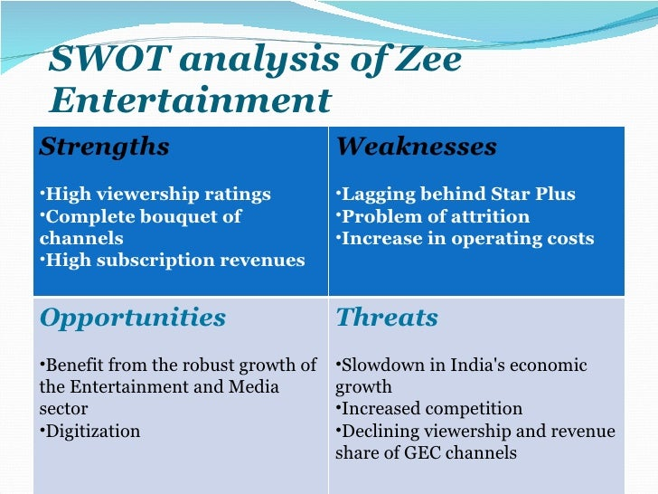 swot analysis media and entertainment industry By conducting a swot on the media industry and analyzing its strengths, weaknesses, opportunities and threats, you're better equipped for the latest transition, whether your goal is to start your.