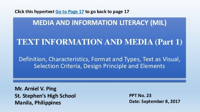 MEDIA AND INFORMATION LITERACY (MIL) TEXT INFORMATION AND MEDIA (Part 1) Definition, Characteristics, Format and Types, Te...