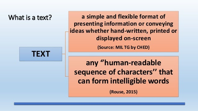 Media and Information Literacy (MIL) - Text Information and
