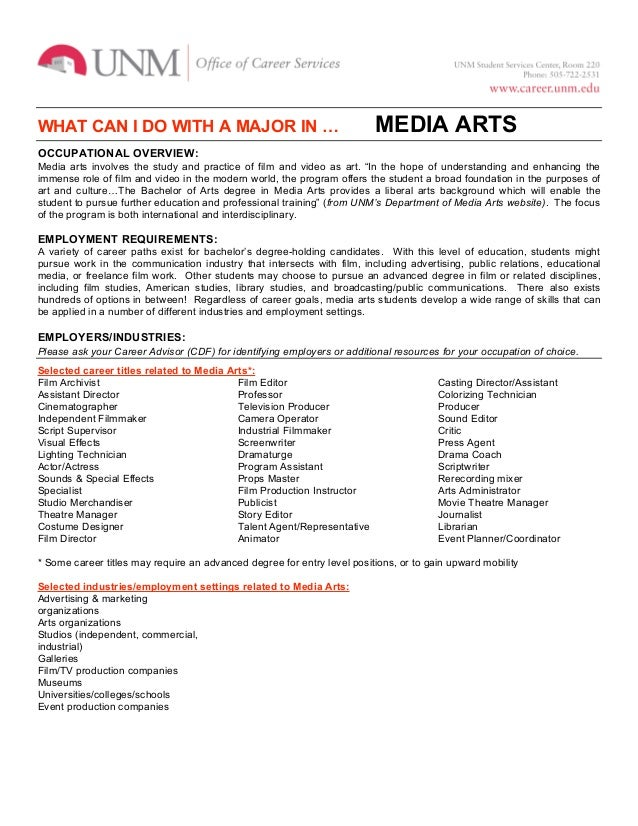 WHAT CAN I DO WITH A MAJOR IN …                                          MEDIA ARTSOCCUPATIONAL OVERVIEW:Media arts involv...