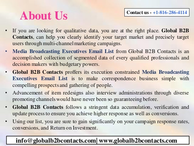 About Us • If you are looking for qualitative data, you are at the right place. Global B2B Contacts, can help you clearly ...