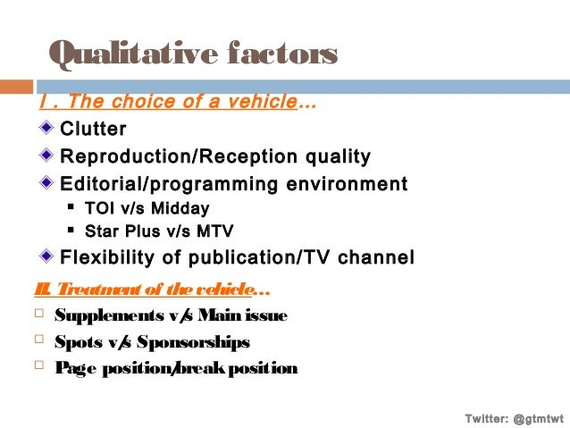 Qualitative factors I . The choice of a vehicle … Clutter Reproduction/Reception quality Editorial/programming environment...