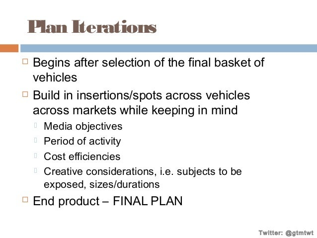 Plan Iterations     Begins after selection of the final basket of vehicles Build in insertions/spots across vehicles acr...