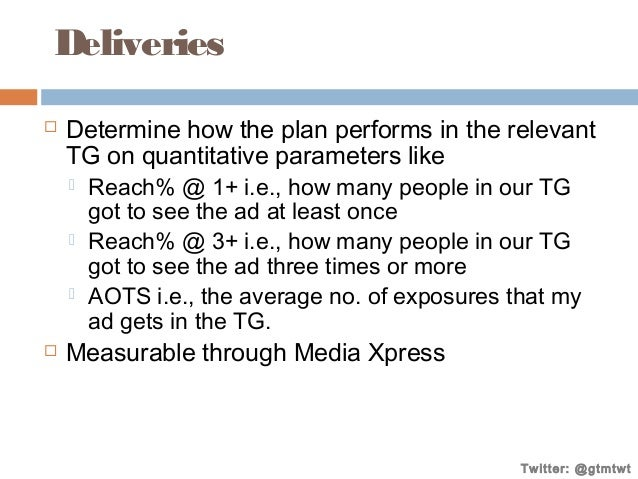 Deliveries   Determine how the plan performs in the relevant TG on quantitative parameters like       Reach% @ 1+ i.e...
