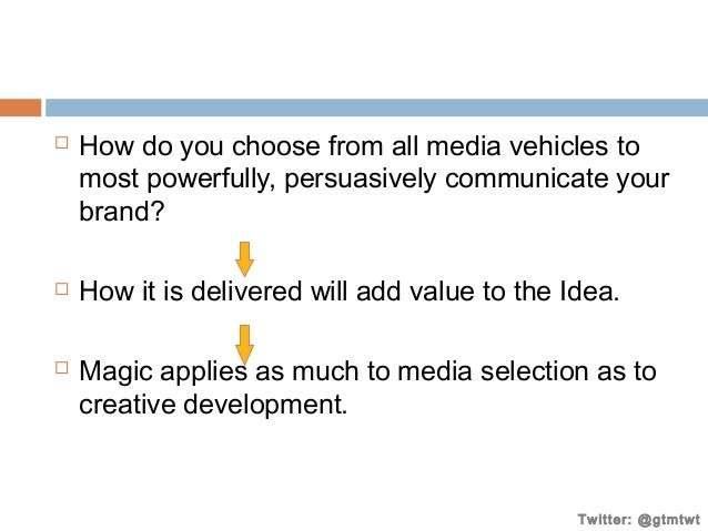       How do you choose from all media vehicles to most powerfully, persuasively communicate your brand? How it is deli...
