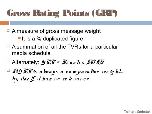 Gross Rating Points (GRP)         A measure of gross message weight  It is a % duplicated figure A summation of all t...