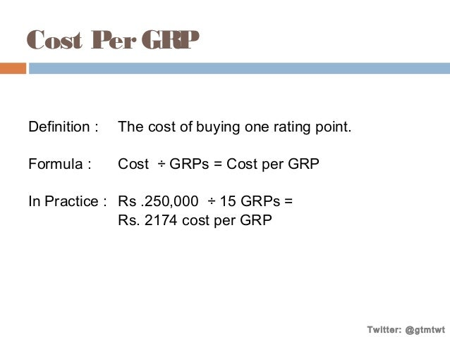 Cost Per GRP Definition :  The cost of buying one rating point.  Formula :  Cost ÷ GRPs = Cost per GRP  In Practice : Rs ....