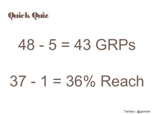 Quick Quiz  48 - 5 = 43 GRPs 37 - 1 = 36% Reach Twitter: @gtmtwt