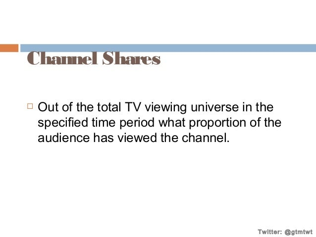 Channel Shares   Out of the total TV viewing universe in the specified time period what proportion of the audience has vi...
