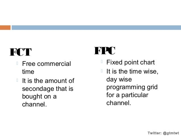 FCT     Free commercial time It is the amount of secondage that is bought on a channel.  FPC    Fixed point chart It i...
