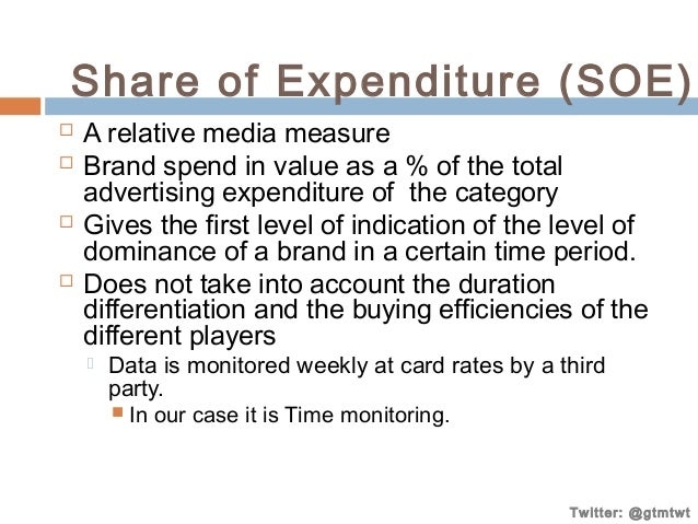 Share of Expenditure (SOE)        A relative media measure Brand spend in value as a % of the total advertising expend...