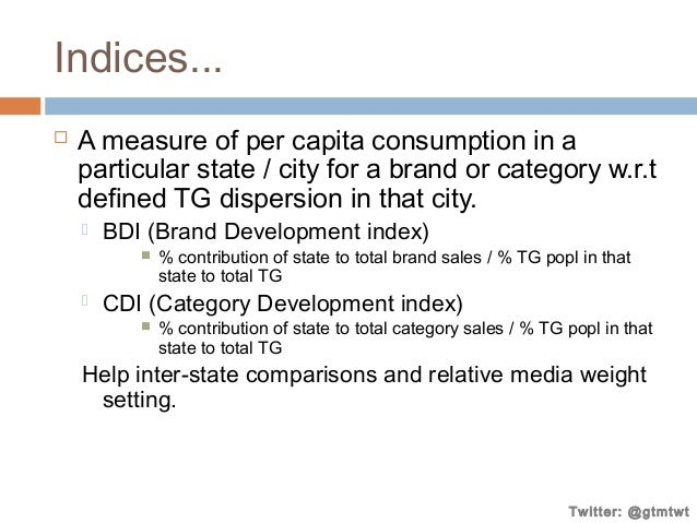 Indices...   A measure of per capita consumption in a particular state / city for a brand or category w.r.t defined TG di...