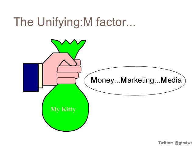 The Unifying:M factor...  Money...Marketing...Media  My Kitty  Twitter: @gtmtwt