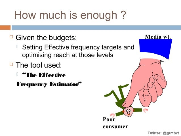 How much is enough ?   Given the budgets:     Media wt.  Setting Effective frequency targets and optimising reach at th...