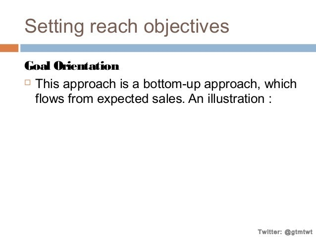 Setting reach objectives Goal Orientation  This approach is a bottom-up approach, which flows from expected sales. An ill...