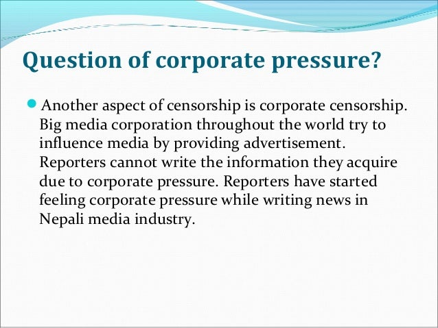 the question of whether censorship is freedom or suppression Censorship refers to suppression of information, ideas, or artistic expression by anyone, whether government officials, church authorities, private pressure groups, or speakers, writers, and artists themselves (grolier, inc).
