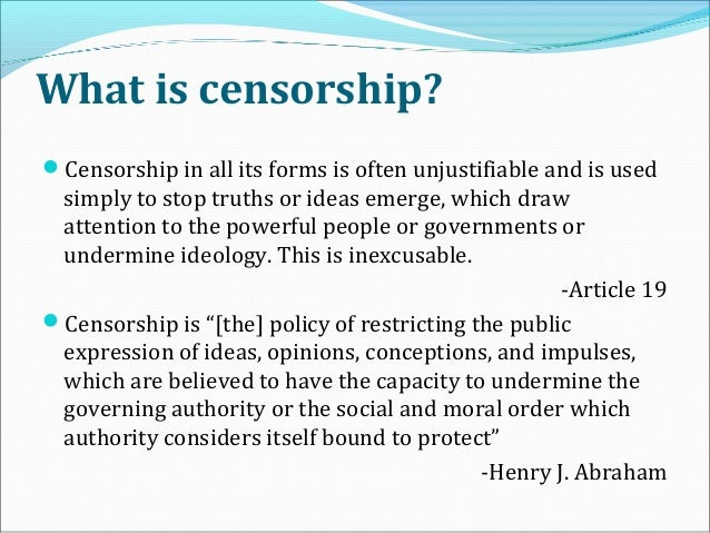 how censorship in the media is What do you do when a government censors the media you use social  networks this was how thousands of young nicaraguans started the.