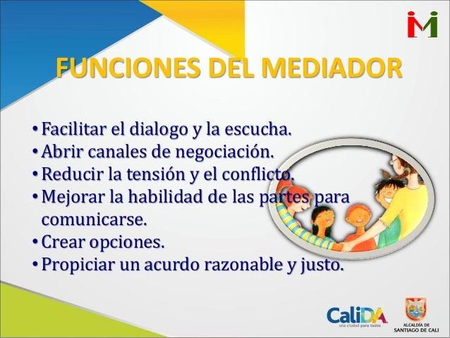 •Facilitar el dialogo y la escucha.•Abrir canales de negociación.•Reducir la tensión y el conflicto.•Mejorar la habilidad ...
