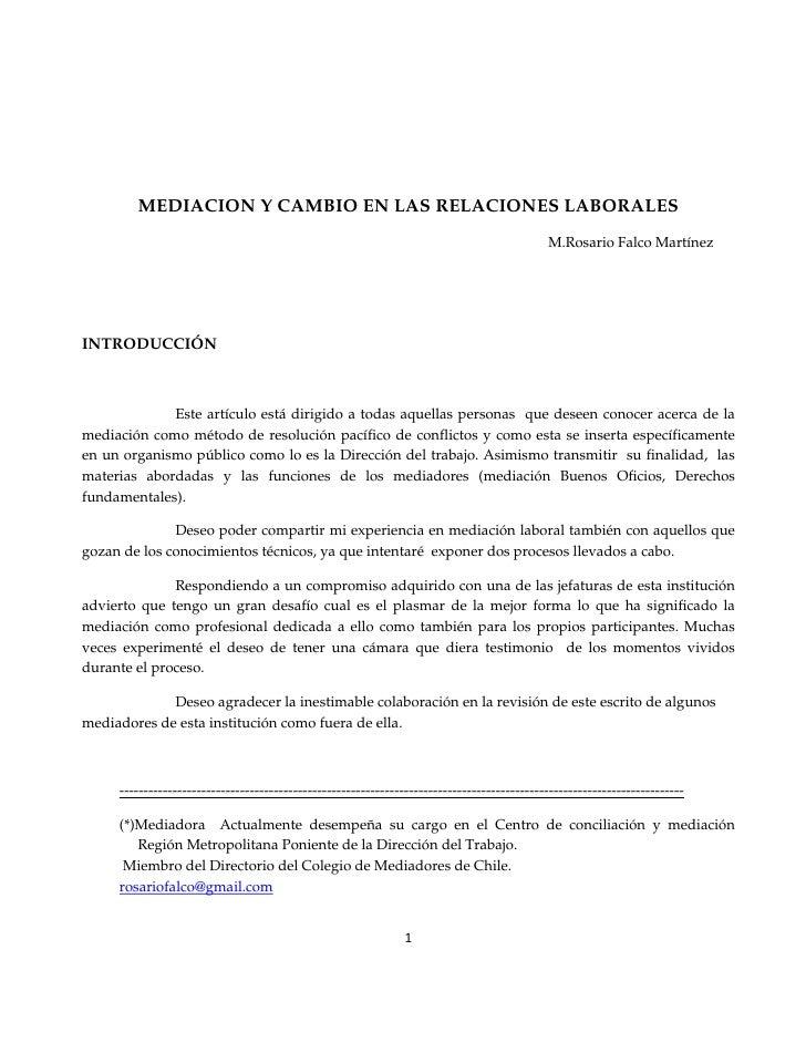 MEDIACION Y CAMBIO EN LAS RELACIONES LABORALES                                                                            ...