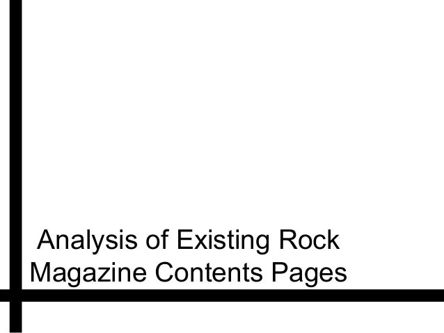 Analysis of Existing RockMagazine Contents Pages