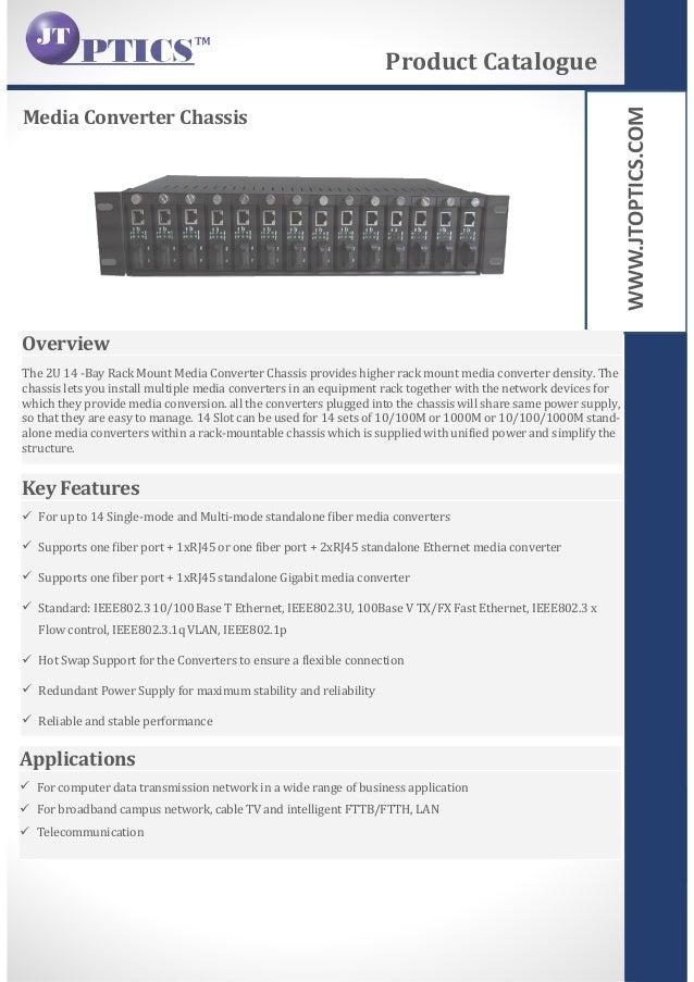 WWW.JTOPTICS.COM Media Converter Chassis Product Catalogue Overview The 2U 14 -Bay Rack Mount Media Converter Chassis prov...