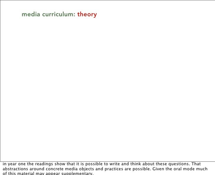 media curriculum: theory     in year one the readings show that it is possible to write and think about these questions. T...