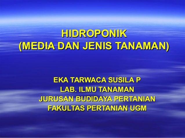 HIDROPONIK (MEDIA DAN JENIS TANAMAN) EKA TARWACA SUSILA P LAB. ILMU TANAMAN JURUSAN BUDIDAYA PERTANIAN FAKULTAS PERTANIAN ...