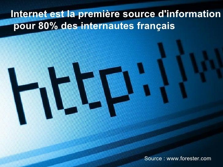 Internet est la première source d'information pour 80% des internautes français Source : www.forester.com