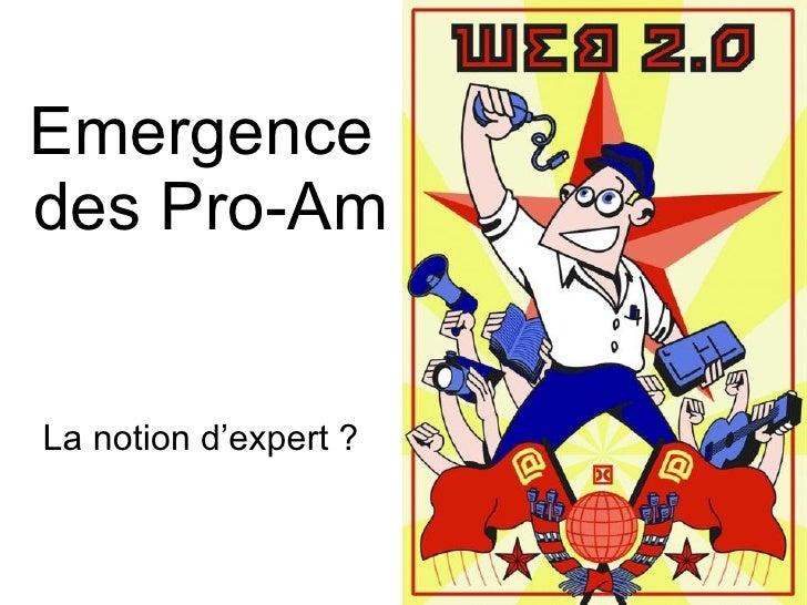 Emergence  des Pro-Am La notion d'expert ?