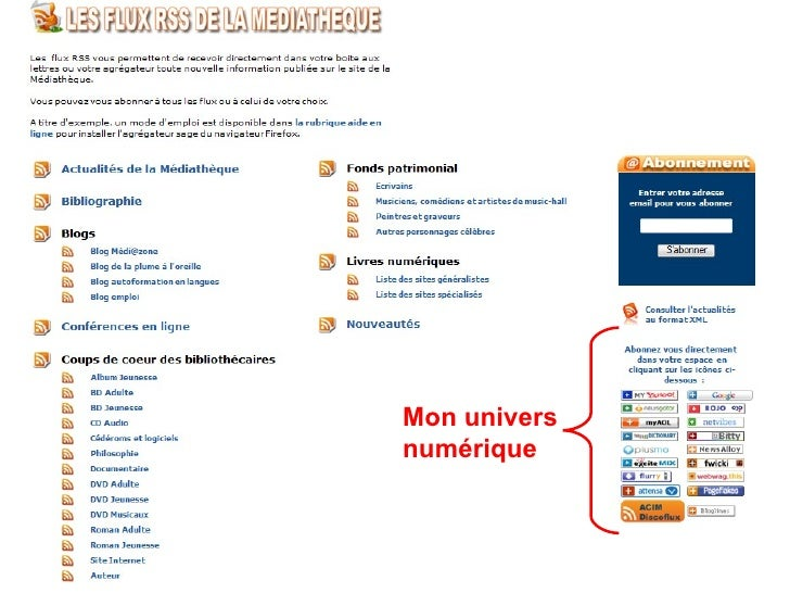 www.dole.org/mediatheque/   Archimed www.bm-saintraphael.fr Mon univers numérique