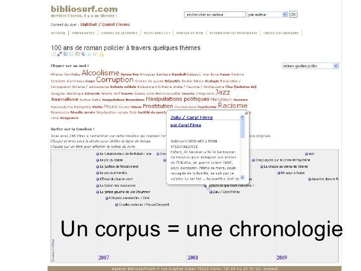 Un corpus = une chronologie