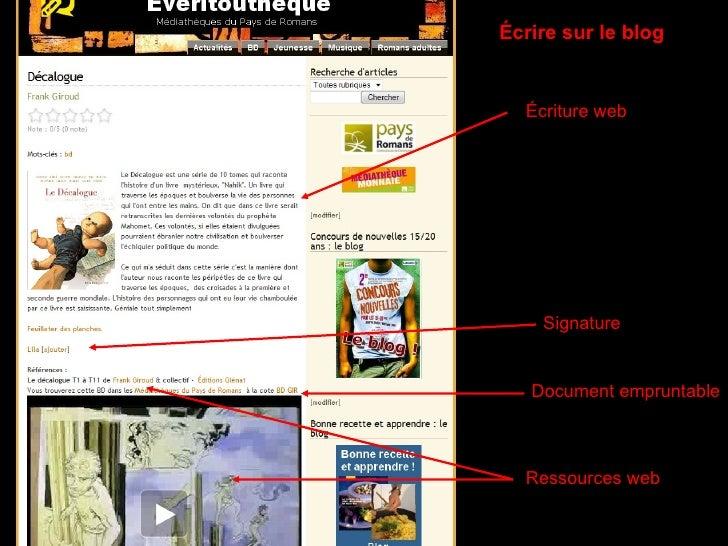 Écrire sur le blog Écriture web Ressources web Signature Document empruntable