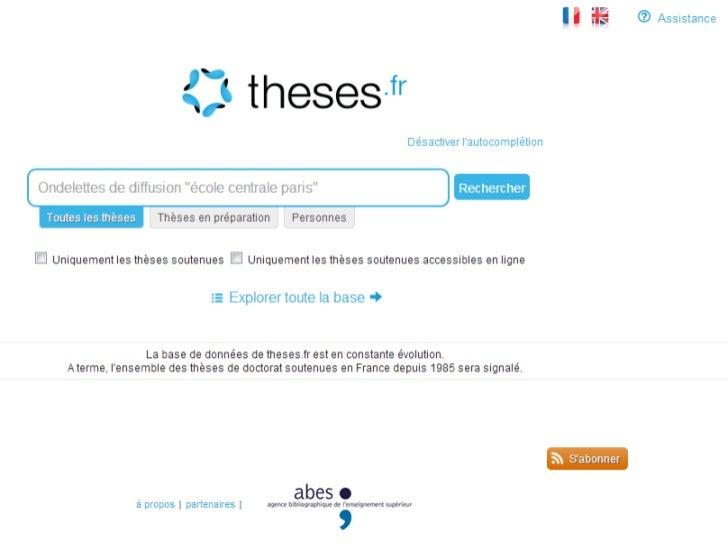 Les identifiants,    marchepied vers le web de données•   2011LYO20079       N° national de thèse•   http://www.theses.fr/...