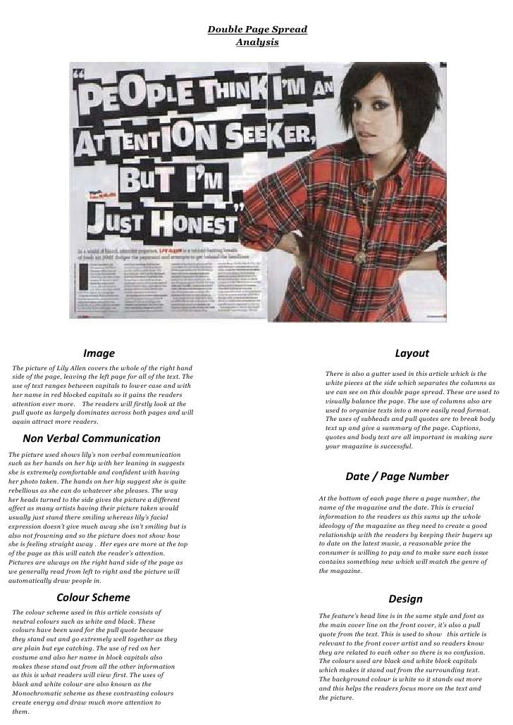 ImageThe picture of Lily Allen covers the whole of the right hand side of the page, leaving the left page for all of the t...