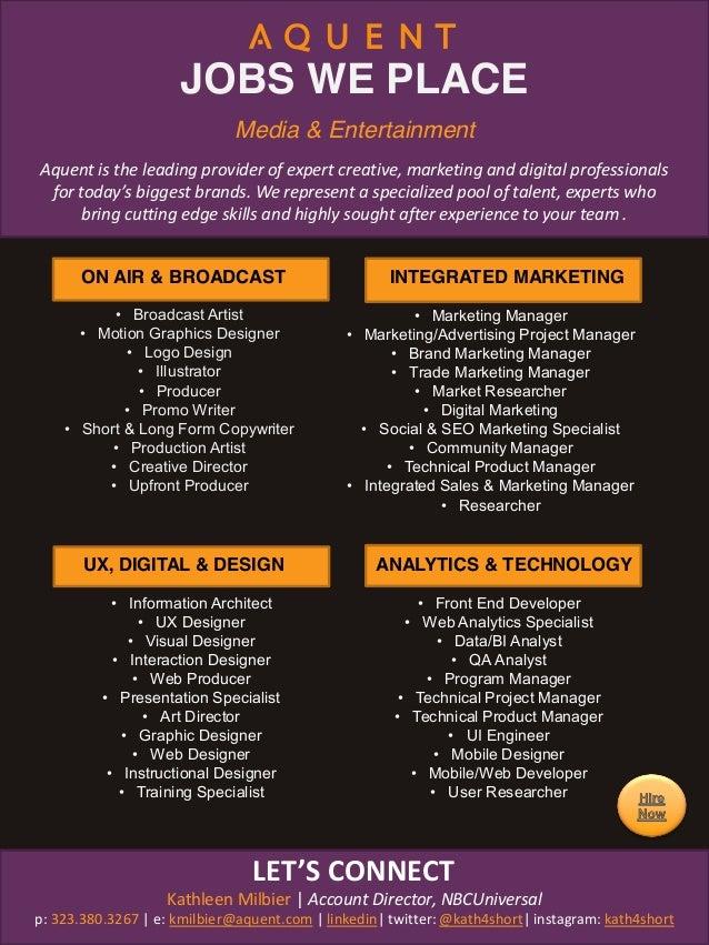 JOBS WE PLACE ON AIR & BROADCAST • Broadcast Artist • Motion Graphics Designer • Logo Design • Illustrator • Producer • Pr...