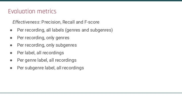 Conclusions: The Task is Challenging! ● Subgenre recognition is much more difficult - much space to improve! ● Datasets ar...