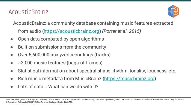 AcousticBrainz AcousticBrainz: a community database containing music features extracted from audio (https://acousticbrainz...