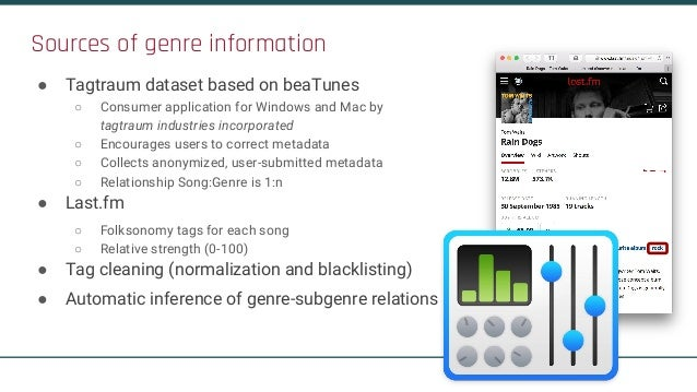 Sources of genre information ● Tagtraum dataset based on beaTunes ○ Consumer application for Windows and Mac by tagtraum i...