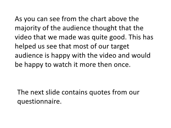 As you can see from the chart above the majority of the audience thought that the video that we made was quite good. This...