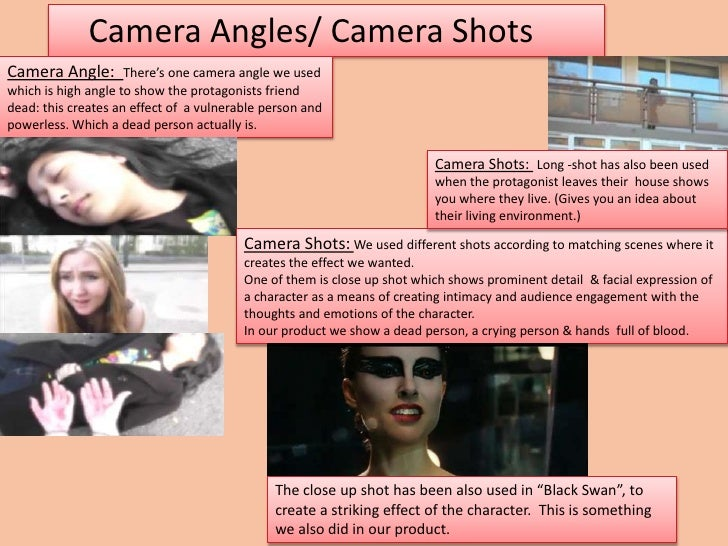 Camera Angles/ Camera ShotsCamera Angle:        There's one camera angle we usedwhich is high angle to show the protagonis...