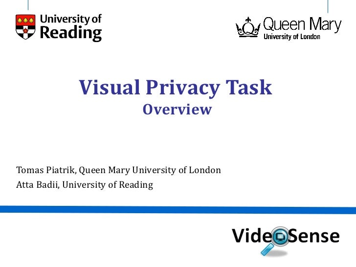 Visual Privacy Task                            OverviewTomas Piatrik, Queen Mary University of LondonAtta Badii, Universit...