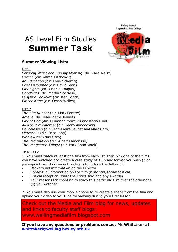 AS Level Film Studies   Summer TaskSummer Viewing Lists:List 1Saturday Night and Sunday Morning (dir. Karel Reisz)Psycho (...