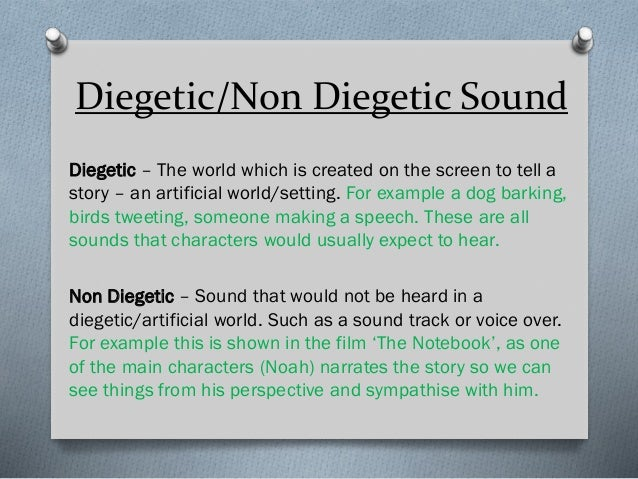Diegetic/Non Diegetic Sound Diegetic – The world which is created on the screen to tell a story – an artificial world/sett...