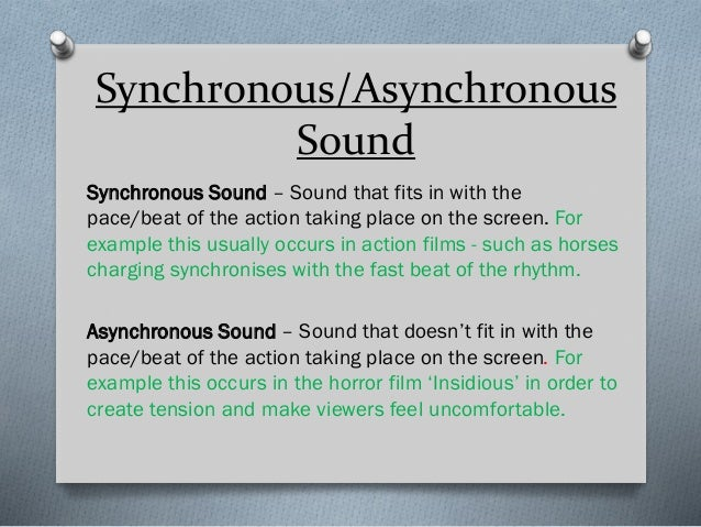 Synchronous/Asynchronous Sound Synchronous Sound – Sound that fits in with the pace/beat of the action taking place on the...