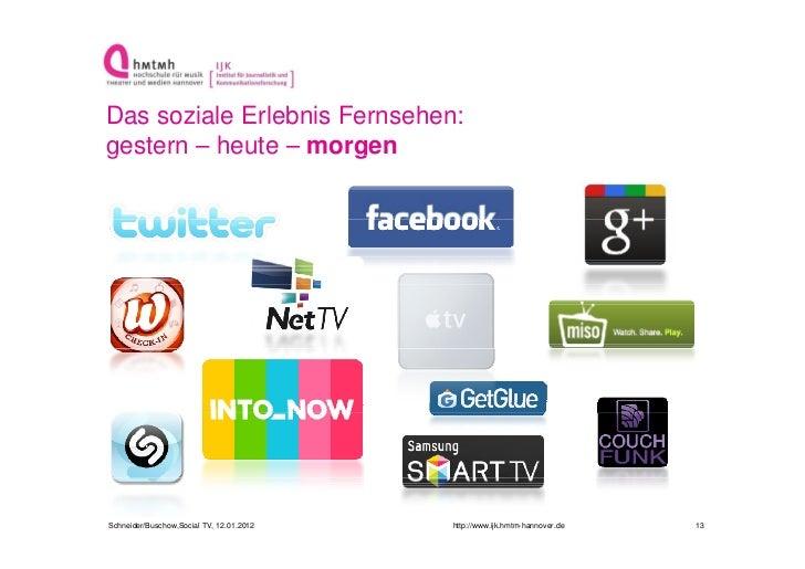 Das soziale Erlebnis Fernsehen:gestern – heute – morgeng                     gSchneider/Buschow,Social TV, 12.01.2012   ht...