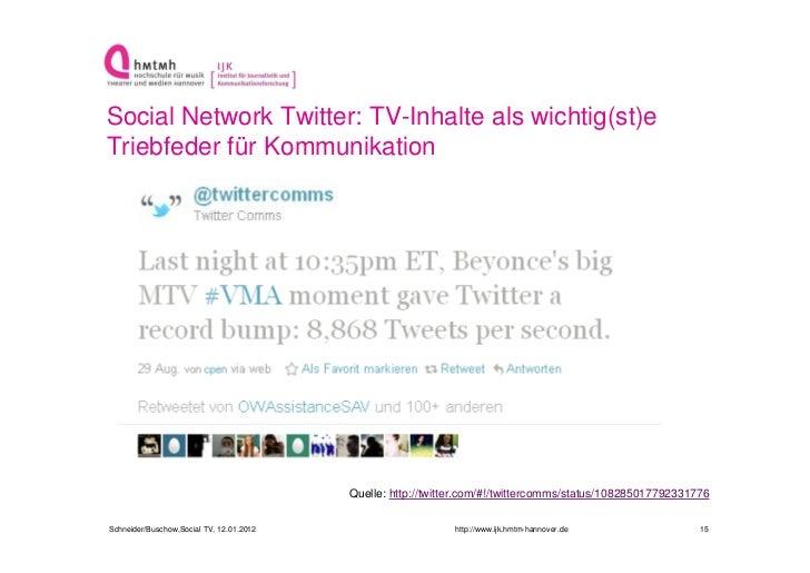 Social Network Twitter: TV-Inhalte als wichtig(st)eTriebfeder für Kommunikation                                          Q...