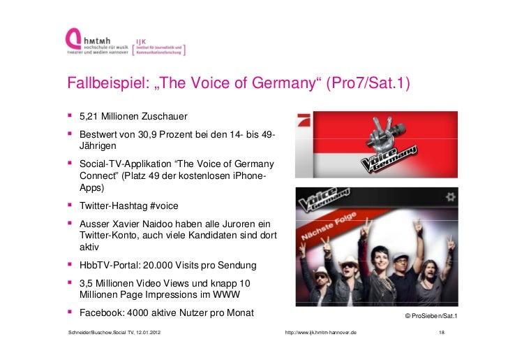 """Fallbeispiel: """"The Voice of Germany"""" (Pro7/Sat.1) 5,21 Millionen Zuschauer Bestwert von 30,9 Prozent bei den 14- bis 49-..."""