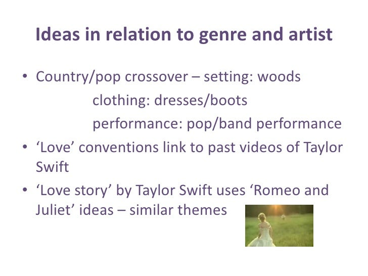 Ideas in relation to genre and artist<br />Country/pop crossover – setting: woods<br />                   clothing: dresse...
